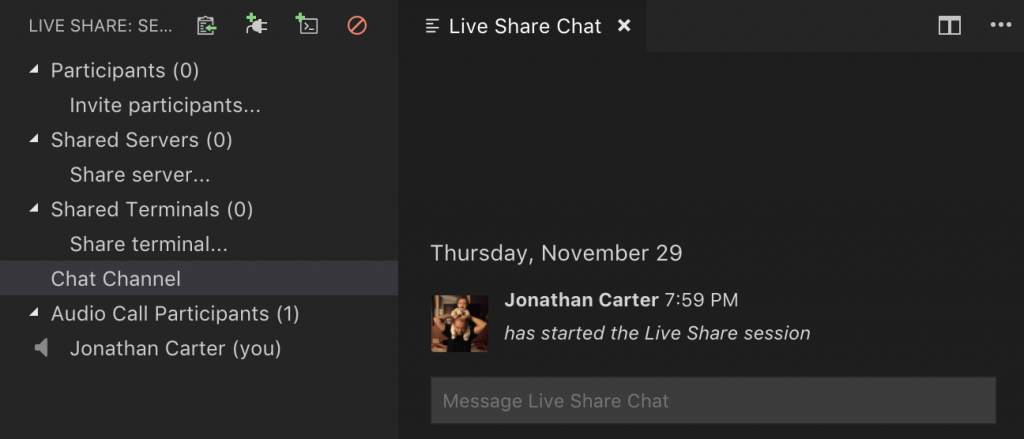 Microsoft Visual Studio Code Live Share Chat